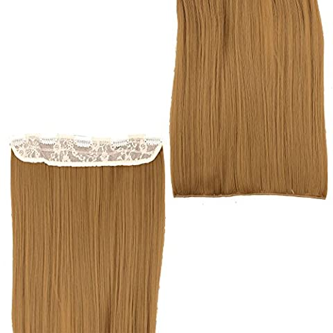 27 Inches (68cm) Synthetic Clip-in Hair Extensions Straight 3/4 Full Head One Piece 5clips Lady Women Hair Hairpieces Ginger
