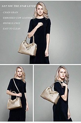 MATAGA Damen Handtaschen Leder Tasche Umhängetasche Crossbody Tasche für Damen Abnehmbare Gürtel JHFX958073 (gold) Golden1