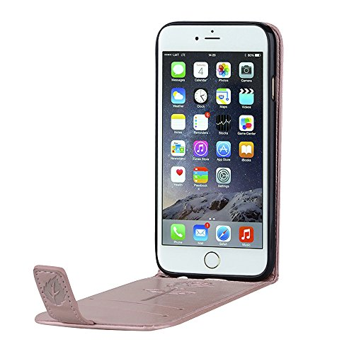 """MOONCASE iPhone 6 Plus/iPhone 6s Plus Coque, [Embossed Pattern] Card Holster Flip Housse Durable PU Cuir Anti-choc Supports Protection Etui Cases pour iPhone 6 Plus/6s Plus 5.5"""" Violet Rose"""