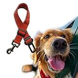 Dog Car Seat Belt 2 PCS Adjustable Pet Restraint Harness Travel Safety Leads (Red)
