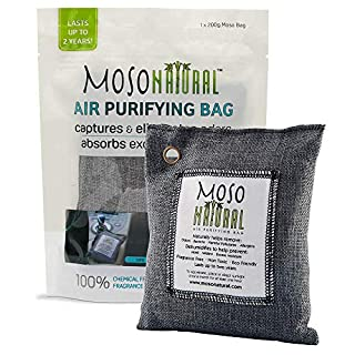 MOSO NATURAL Air Purifying Bag, Home/Car Moisture Absorber and Activated Bamboo Charcoal Odour Absorber – Air Purifier Bag for Cars, Wardrobes, Bathrooms, Kitchens, Pet Areas and Cabinets – 200g