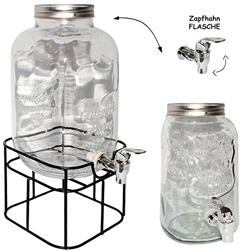 alles-meine.de GmbH 5 Liter - großer Getränkespender mit Metall Ständer _ mit Zapfhahn & Deckel / Zapfhahnflasche / Saftkanne / Glas - z.B. für Bier - Saft - Limonade - Sommergla..