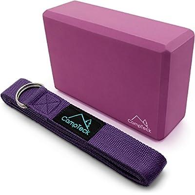 CampTeck D-Ring Polyester Yoga Gurt Verstellbarer Yogagurt & Schaumstoff Yoga Block Leicht EVA Yoga Blöcke für Pilates, Fitnesstraining, Kraft, Gleichgewicht und Flexibilitätstraining