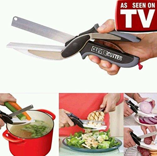 Clever cutter coltello da cucina 2-in-1e tagliere, taglia e affetta verdure