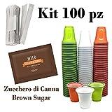 Kit da Caffè 100 Bicchieri, Zucchero CANNA, Palette - 33% plastica in meno