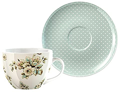 Creative Tops Katie Alice Cottage Flower Large Porcelain Breakfast Cup and Saucer Set