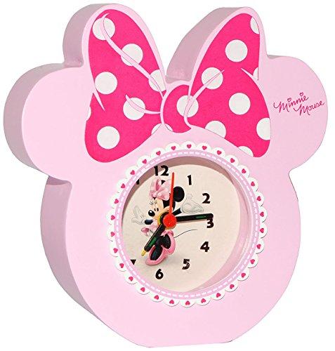 """Preisvergleich Produktbild Kinderwecker - """" Disney Minnie Mouse """" - aus stabilen Holz - für Kinder / großer analoger Wecker & Uhr - Alarm / Plastik - für Mädchen - Kinderuhr - Tischuhr analog - Holzwecker - Maus Playhouse - Mäuse"""