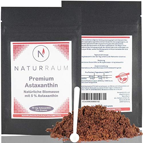 Astaxanthin Pulver hochdosiert - 5 g Natürliche Biomasse mit 250 mg Astaxanthin - vakuumiert - hoch Bioverfügbar - Premium Qualität aus Europa - Haematococcus Pluvialis - ohne Zusatzstoffe - vegan - Gezüchtet 12