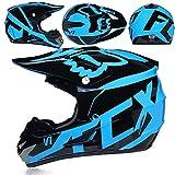 Helmet Motocross-Helm Und Schutzbrille (5 Stück) - Schwarz Und Blau - Erwachsener Offroad-Helm, Integral-MTB-Helm, Motorrad-Crosshelm Für Jugendliche Männer Frauen Kinder,B-Small