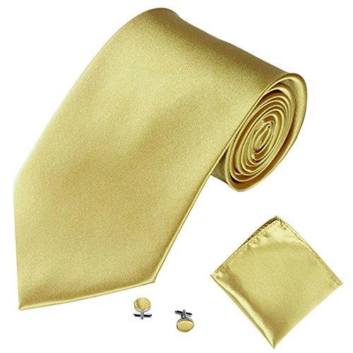 POIUDE Herrenkrawatte 3 STÜCKE, Seidenoptik Krawattenset zum Anzug oder Smoking Manschettenknöpfe Einstecktuch in 25 Farben(V, 145x6cm)