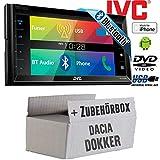 Dacia Dokker schwarz 2DIN - JVC KW-V320BTE - CD DVD Bluetooth MP3 USB 6,8-Zoll Display Autoradio - Einbauset