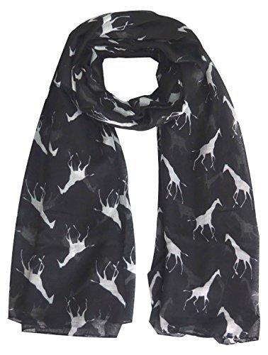 Lina & Lily Giraffe Tiermuster Damen Schal Überdimensional - Schwarz mit weiß, One size (Schwarze Stoff Und Weiße Giraffe)