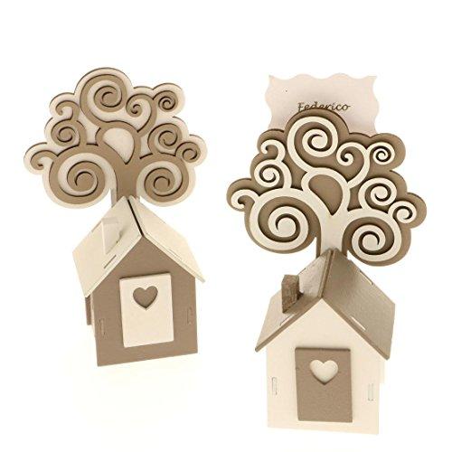 6Stück Herz Haus Häuschen Holz Konfekt mit Baum des Lebens mit Clip