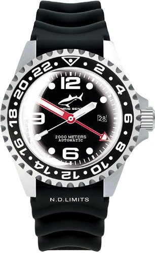 Chris Benz Deep 2000m Automatic GMT Super Bubble CB-2000A-D3-KB Automatic Mens Watch Diving Watch