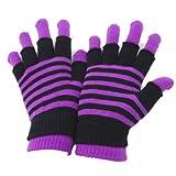 Damen Magic Gloves 2-in-1 Thermo-Handschuhe, gestreift (One Size) (Lila)