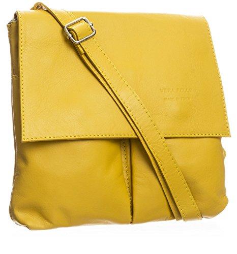 BHBS Damen überqueren Sie Körper Tasche Mit Echtem Weichem Leder 27 x 24.5 cm (B x H) gelb