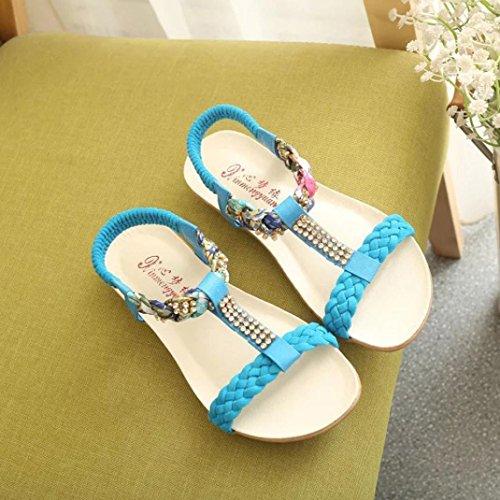 Saingace Frauen Sandalen Elastische Strap Schuhe Casual Schuhe Sandalen Komfort Sandalen Blau
