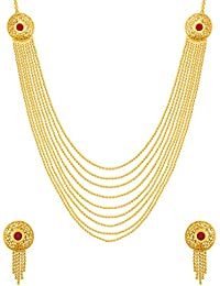 Voylla Traditional Alloy With Yellow Gold Plated Kundan Necklace Sets For Women