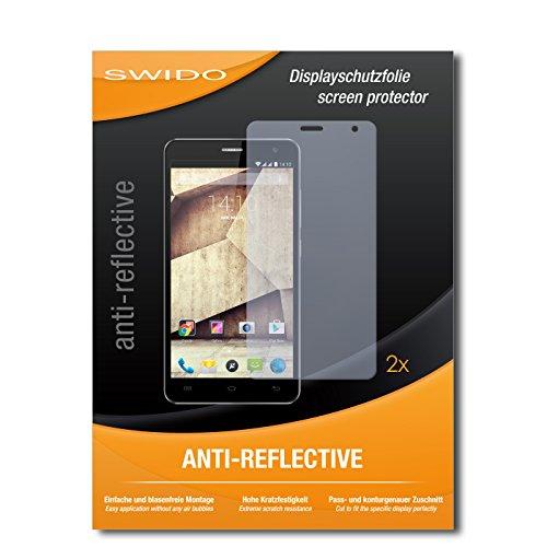 SWIDO Schutzfolie für Allview P6 Qmax [2 Stück] Anti-Reflex MATT Entspiegelnd, Hoher Härtegrad, Schutz vor Kratzer/Bildschirmschutz, Bildschirmschutzfolie, Panzerglas-Folie