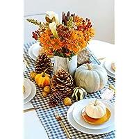 Juego de 50 calabazas artificiales para decoración del hogar, mezcla de 50 cosecha artificial, Halloween Mini calabazas artificiales y calabazas de arce hojas de pino Conos bellotas