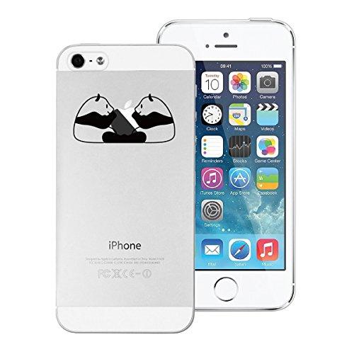 Yokata iPhone SE / iPhone 5 / iPhone 5s Hülle Transparent Weiche Silikon Handyhülle Schutzhülle TPU Handy Tasche Schale Etui Weich Silicone Bumper Ultra Dünn Slim Schlank Durchsichtig Handytasche Prem Zwei Pandas