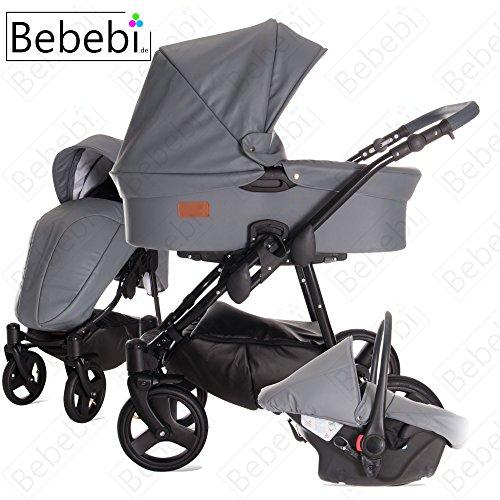 Bebebi   Modell ECO Wing   Hartgummireifen in Schwarz   3 in 1 Kombi Kinderwagen Cashew ECO Leather