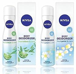 Nivea Body Deodorizer Fresh Citrus & Fresh Petal Care Gas Free Spray for Women, 120ml,pack of 2