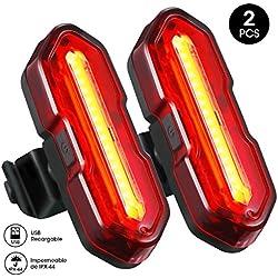TOPELEK Luz LED Trasera Bicicleta Potente [2 Paquetes] Impermeable de IPX-44, Luz Rojo Bici de 5 Modos de Brillo, Luz para Seguridad de Ciclismo Recargable con USB , Faro Trasero, para Cola, Casco, Mocila, Monillar, etc.