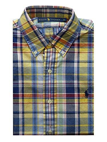 Plaid Pony Shirt (Ralph Lauren Hemd - Custom Fit - Short Sleeve - BD Plaid Yellow - Button Down - S)