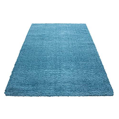 Pelo alto montone pecora tappeto shaggy tappeto a pelo lungo pelo lungo pelo liscio coccolone altezza pelo 45 mm, farbe:turchese, maße:200x290 cm