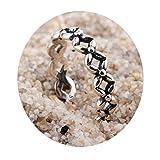 AmDxD Joyería 925 Plata Anillos para Pies para Mujer Pequeño Hueco Square 1.6CM Diámetro,Anillo Ajustable