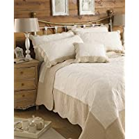 """Riva Paoletti Fayence King Bedspread - Textured Plain White - Contrasting Taupe Border - Scalloped Edges - 100% Cotton Filling & Outer - Machine Washable - 265 x 265cm (104"""" x 104"""" inches)"""