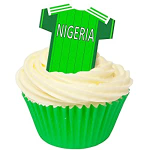 Pack of 12 Edible Wafer Decorations - These T shirts are just great for making football themed cakes for Nigerian fans - 201-442