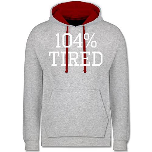 Statement Shirts - 104% tired - Kontrast Hoodie Grau Meliert/Rot