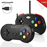 2 Stück SNES Classic USB Super Nintendo Controller Gamepad, kiwitatá SNES USB PC Wired Game Controller Joystick für Windows PC/Mac Raspberry Pi 3