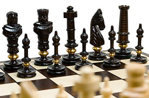 Absolut erstaunlich ROYAL LUX Exklusives Schachspiel aus Holz, 65 x 65 cm - Handgeschliffen mit Messingringen