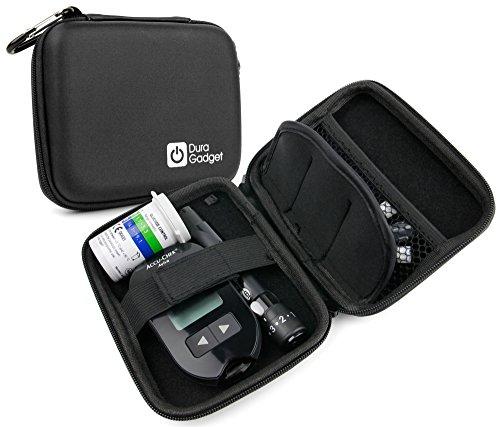 Robustes Schutzetui für Diabetiker-Zubehör: Transport von Blutzuckermessgerät, Teststreifen und Lanzetten. Etui wird ohne Inhalt verkauft.
