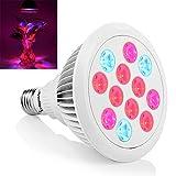 Erligpowht LED Pflanzenlampe E27 24W Pflanzenleuchte Pflanzenlicht Wachstumslampe 12 LEDs