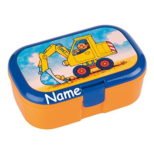 Lunchbox * BAGGER plus WUNSCHNAME * für Kinder von Lutz Mauder // Baustelle Brotdose mit Namensdruck // Perfekt für Jungen // Vesperdose Brotzeitbox Brotzeit (mit Namen)