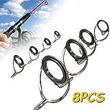 8pcs kit de rŽparation Spinning Fishing Rod Guides Conseils Rod Buliding Ligne Anneaux