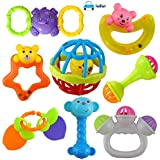 FunBlast Rattles and Teether for Babies, Set of 8 Pcs - Colourful Lovely Attractive Rattles and Teether for Babies, Toddlers, Infants & Children