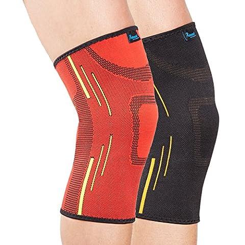 Actesso Sports Knie-Stützstulpe (Rot, Größ)- Elastische Kompression