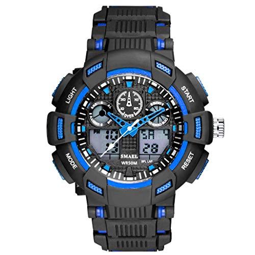 HHyyq Herren Armbanduhr Einfach Stil Sport Analoge Quarz Uhr Digitale Uhren, Digitaluhr Analog 50m wasserdichte Militär Mit Wecker, Laufen Große Anzeige Led Digitaluhren(Blau)