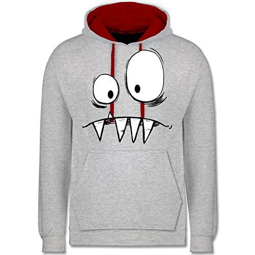 Shirtracer Karneval & Fasching - Monster Gesicht Kostüm 2 - XS - Grau meliert/Rot - JH003 - Kontrast Hoodie