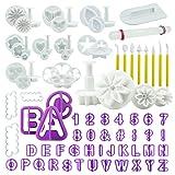 int!rend 86 Ausstechformen, Premium Back-Zubehör Modellierwerkzeug-Set, Buchstaben, Zahlen + Motive für Torten-Deko, Fondant Ausstecher Set, Weiß, Lila