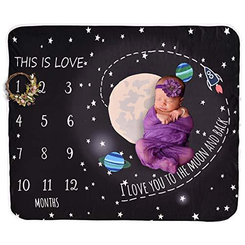 Yunhany Direct Monatliche Meilensteindecke des Universumsdruckbabykindes Kleinkind Wickeln Fotografie-Kuscheldeckenverpackung für Babys und Jungen -