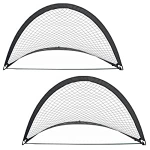 AMOS 2 x Instant Pop Up Portable Football Soccer Goals Nets in Carry Bag & Pegs Kids Childrens Junior Fun Small Indoor Outdoor Training Practice Set 44cm x 54cm x 44cm