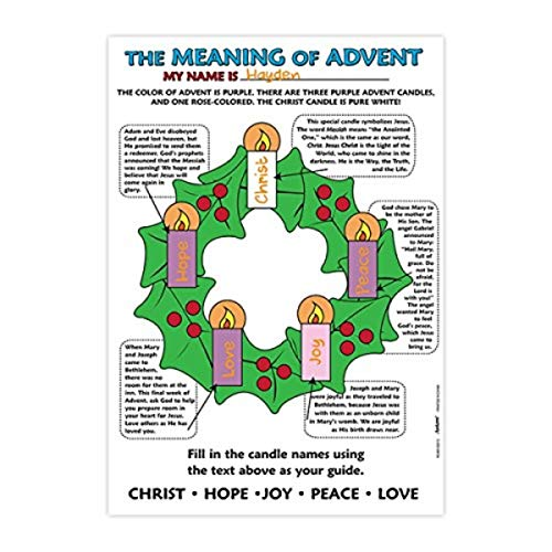 The Meaning of Advent Christmas Malposter, 53,3 cm, 50 Stück