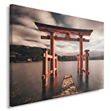 Feeby. Wandbild - 1 Teilig - 80x120 cm, Leinwand Bild Leinwandbilder Bilder Wandbilder Kunstdruck, ITSUKUSHIMA JINJA, JAPAN, KULTUR, BRAUN