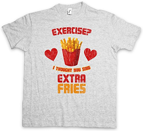 EXTRA FRIES T-SHIRT - patatine patate fritte Dieta Exercise ? I thought you said Diät Diet Fun Fast Food Taglie S - 5XL
